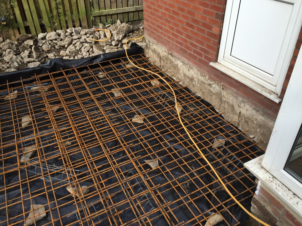 Steel reinforcement in place for concrete pour